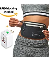 RFID Money Belt for Travel with Worldwide Travel Adapter. Most valuable property within reach