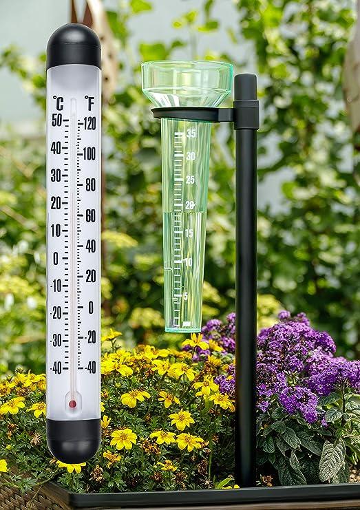 Lifetime Garden estación meteorológica 2 en 1 | Set meteorológica con Pluviómetro y XXL Termómetro de Pared para Exteriores, de plástico con estaca, medición de Temperatura y precipitaciones Medición: Amazon.es: Jardín