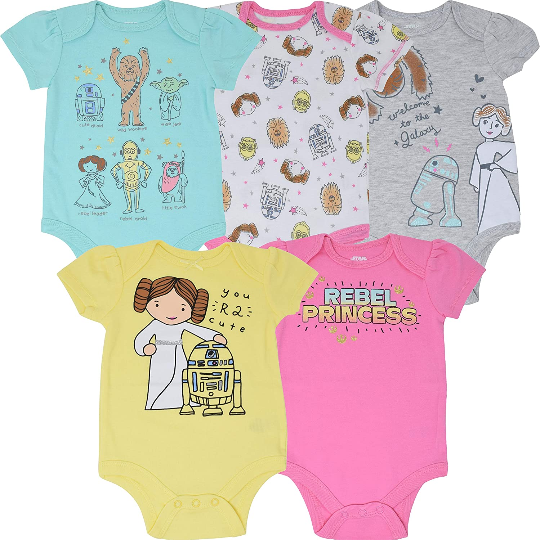 Star Wars Baby Girls 5 Pack Bodysuits