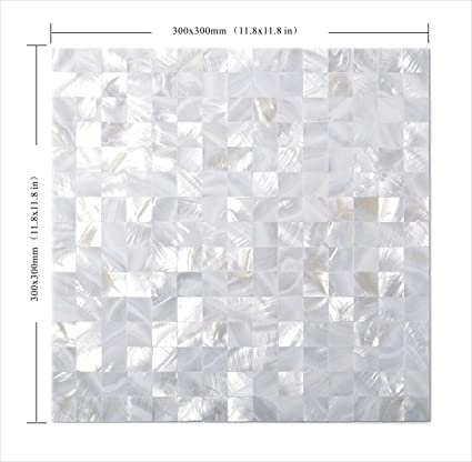 Amazoncom 11pcs Groutless White Square Mother Of Pearl