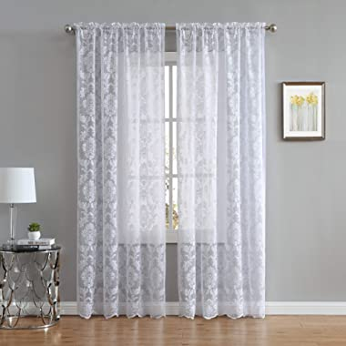 LinenZone Fiona Knitted Lace Curtain Medallion Design with Scalloped Bottom - Rod Pocket - Total Size 108 Inch Wide (54  Each Panel) - 84 Inch Long (2 Panels 54 x 84, White)