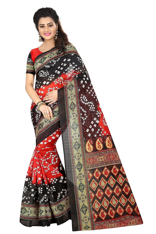 Shonaya. Women's Indian Printed Bhagalpuri Art Silk Saree Sari (Red & Black) BANDHANI-23