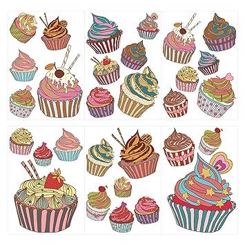 dekodino Wandtattoo Küche Wandsticker Set Bunte Cupcakes ...
