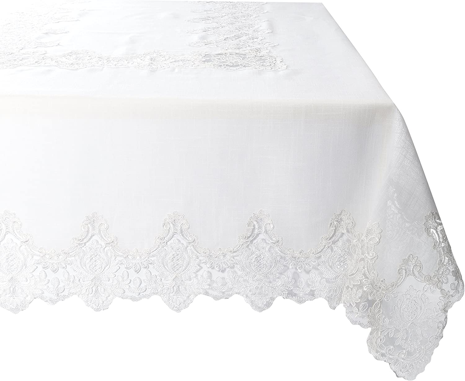 """Violet Linen Imperial Embroidered Vintage Lace Design Oblong/Rectangle Tablecloth, 70"""" x 105"""", Cream"""