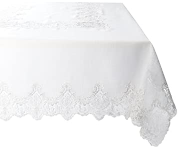Violet Linen Imperial Embroidered Vintage Lace Design Oblong/Rectangle  Tablecloth, 70u0026quot; X 120u0026quot