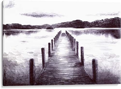 INTALENCE ART Lake Pier Landscape Wall Decor