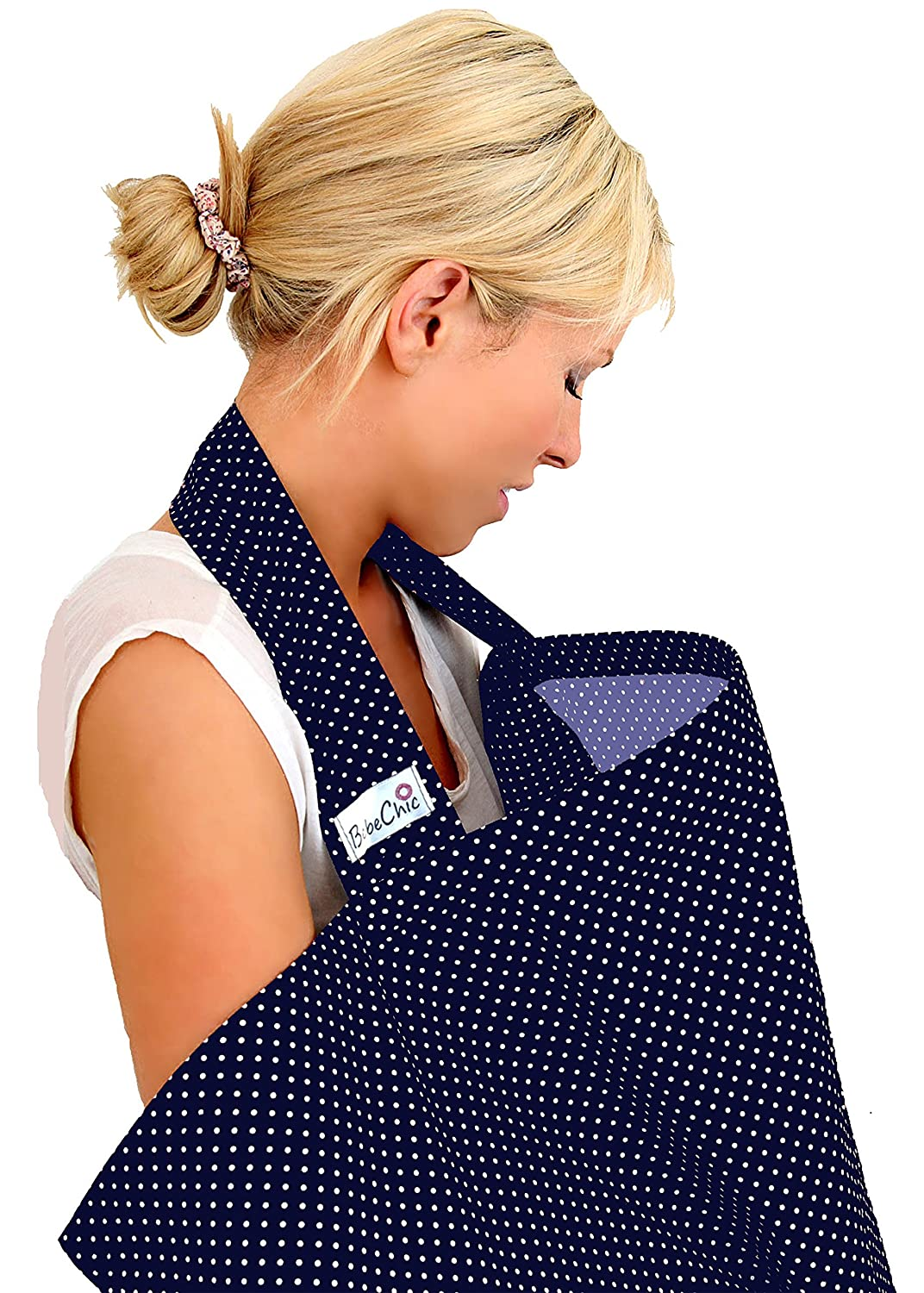 BebeChic.UK * Top Quality Oeko-Tex® Certified 100% Cotton * Breastfeeding Covers * Boned Nursing Tops - with Storage Bag - navy blue / white dot BebeChic Limited navyblue01