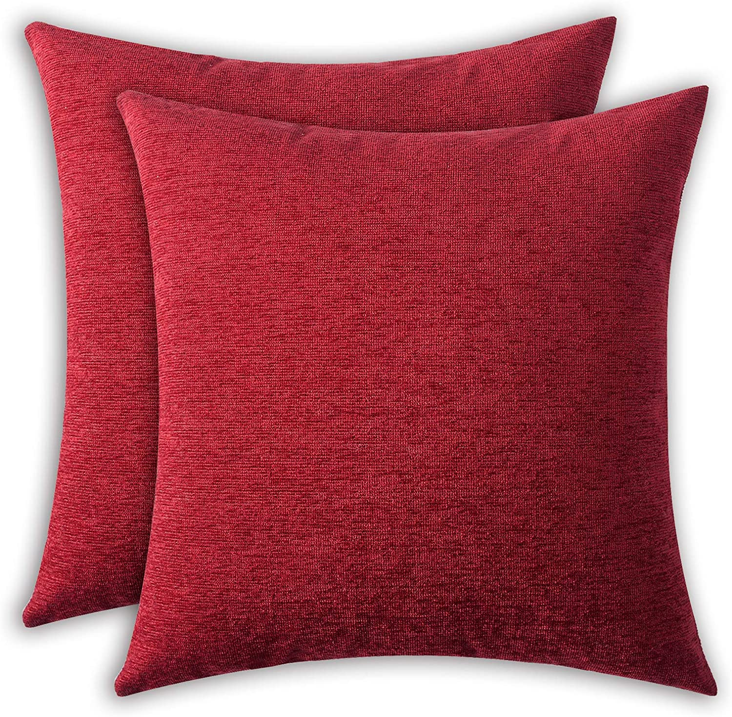 HPUK 2 Pack Solid Pillow Cover Sparkle Chenille Plain Modern Pillowcase, 17x17 inch, for Couch Sofa Living Room Office, Red