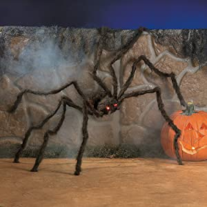 Fun Express - Hairy Spider W/Led Eyes for Halloween - Home Decor - Decorative Accessories - Home Accents - Halloween - 1 Piece
