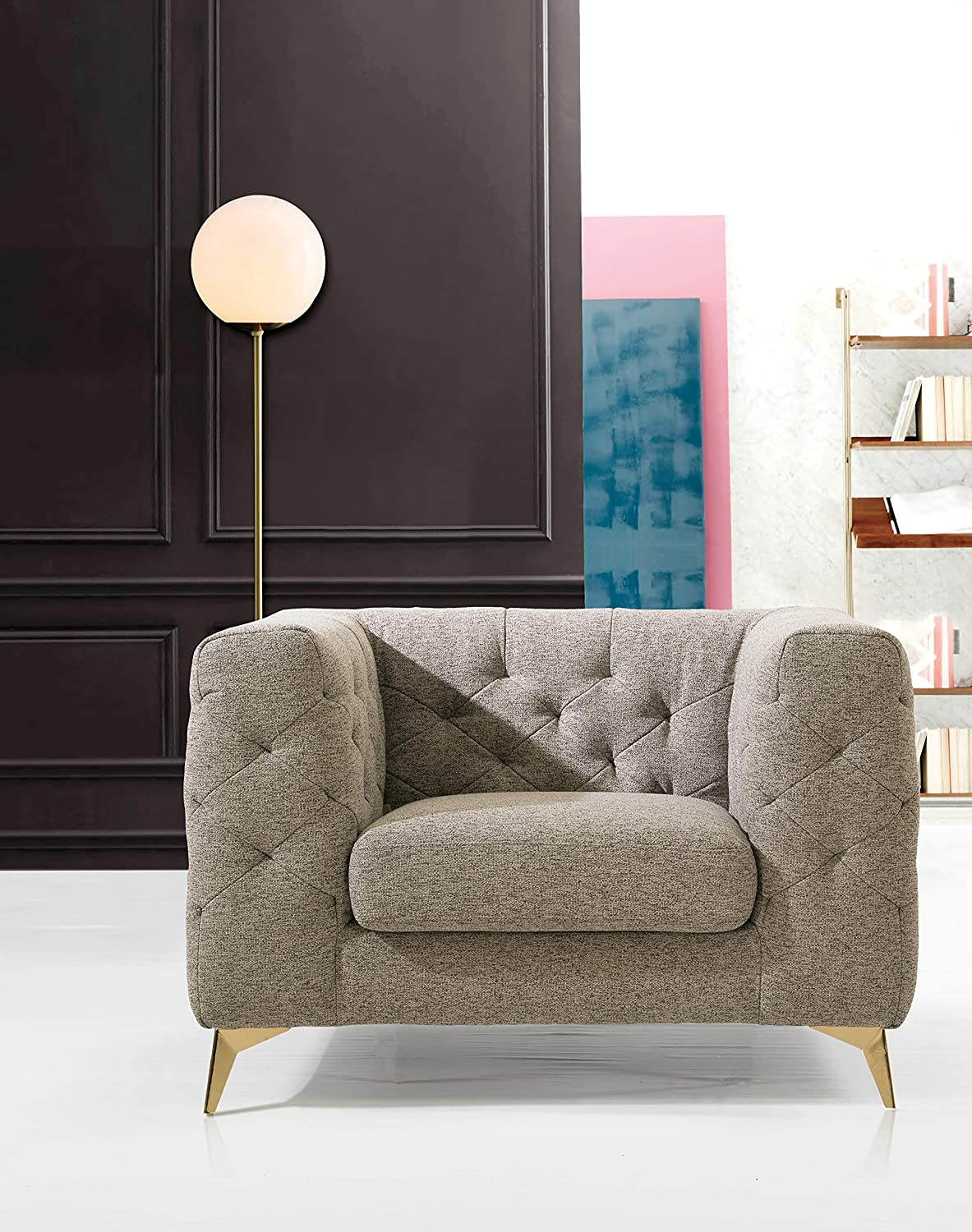 Iconic Home Soho Accent Club Chair Linen Textured Upholstery Plush Tufted Shelter Arm Solid Gold Tone Metal Legs Modern Transitional, SANDY