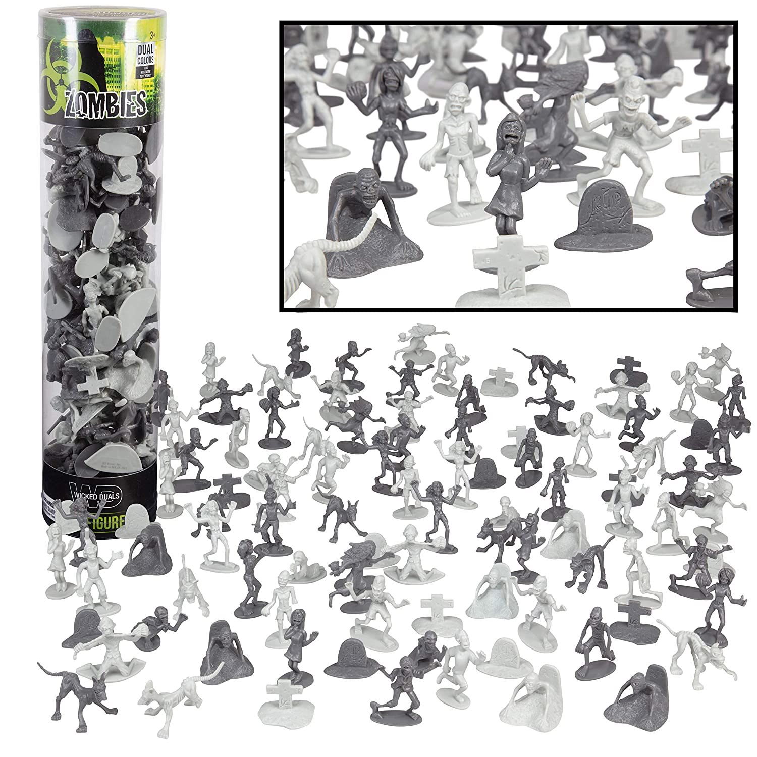 SCS Direct Zombie Army Action Figures - Big Bucket of 100 Zombies - Zombies, Pets, Graves, and Humans for Playtime, Decoration and Parties