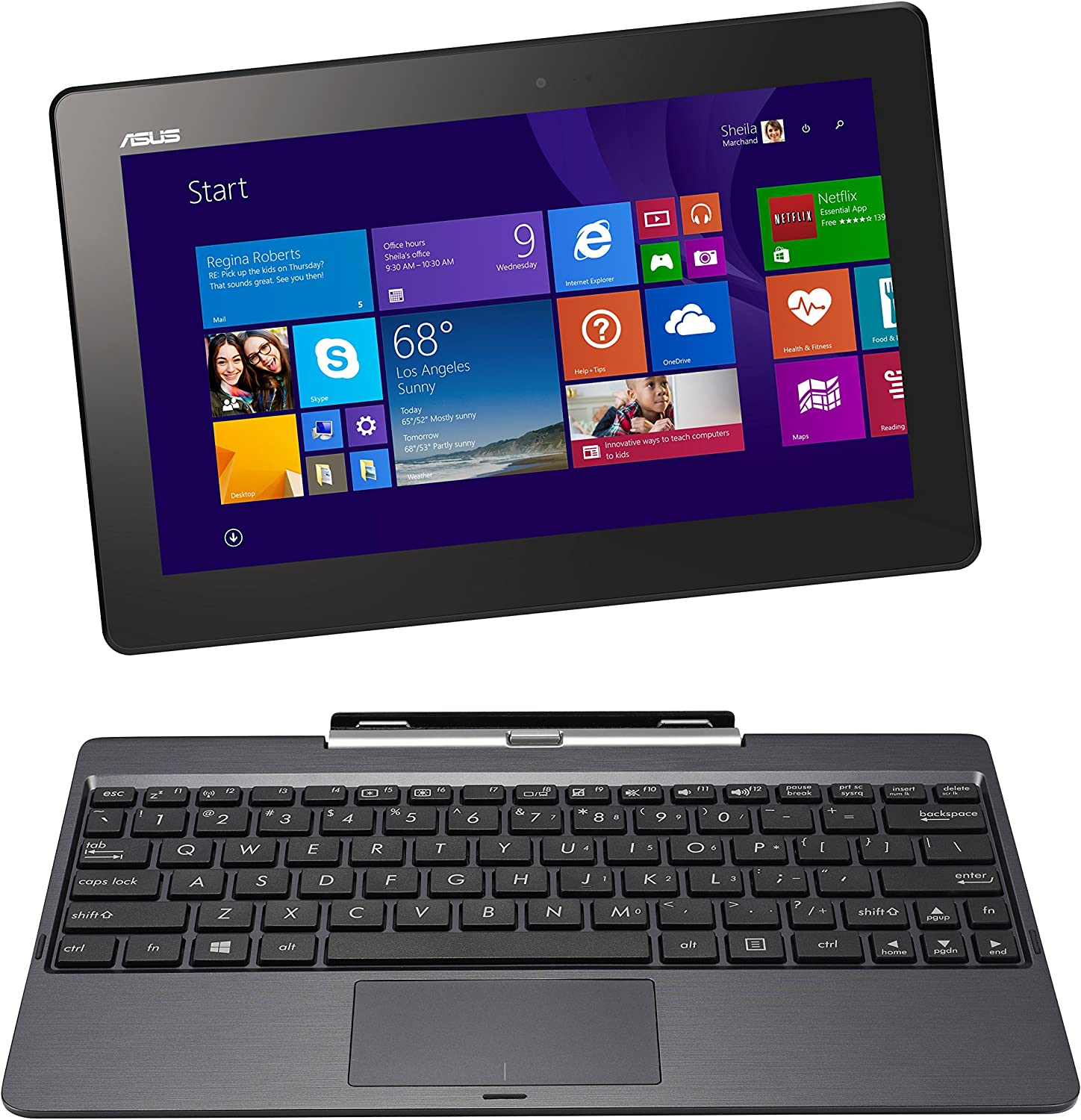 "ASUS Transformer Book T100TAF-B1-BF Laptop (Windows 8.1, Intel Quad-Core Z3735 1.33 GHz, 10.1"" LED-lit Screen, Storage: 32 GB, RAM: 2 GB) Grey"