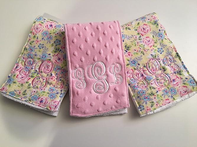Amazon Com Pastel Floral Set Of Three 3 Baby Girl Burp Cloths