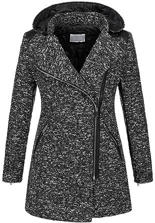 f6fa40ba2e7c Golden Brands Selection Warmer Damen Winter Wollmantel melierter Woll Parka  Jacke Kunstleder B272  Amazon.de  Bekleidung