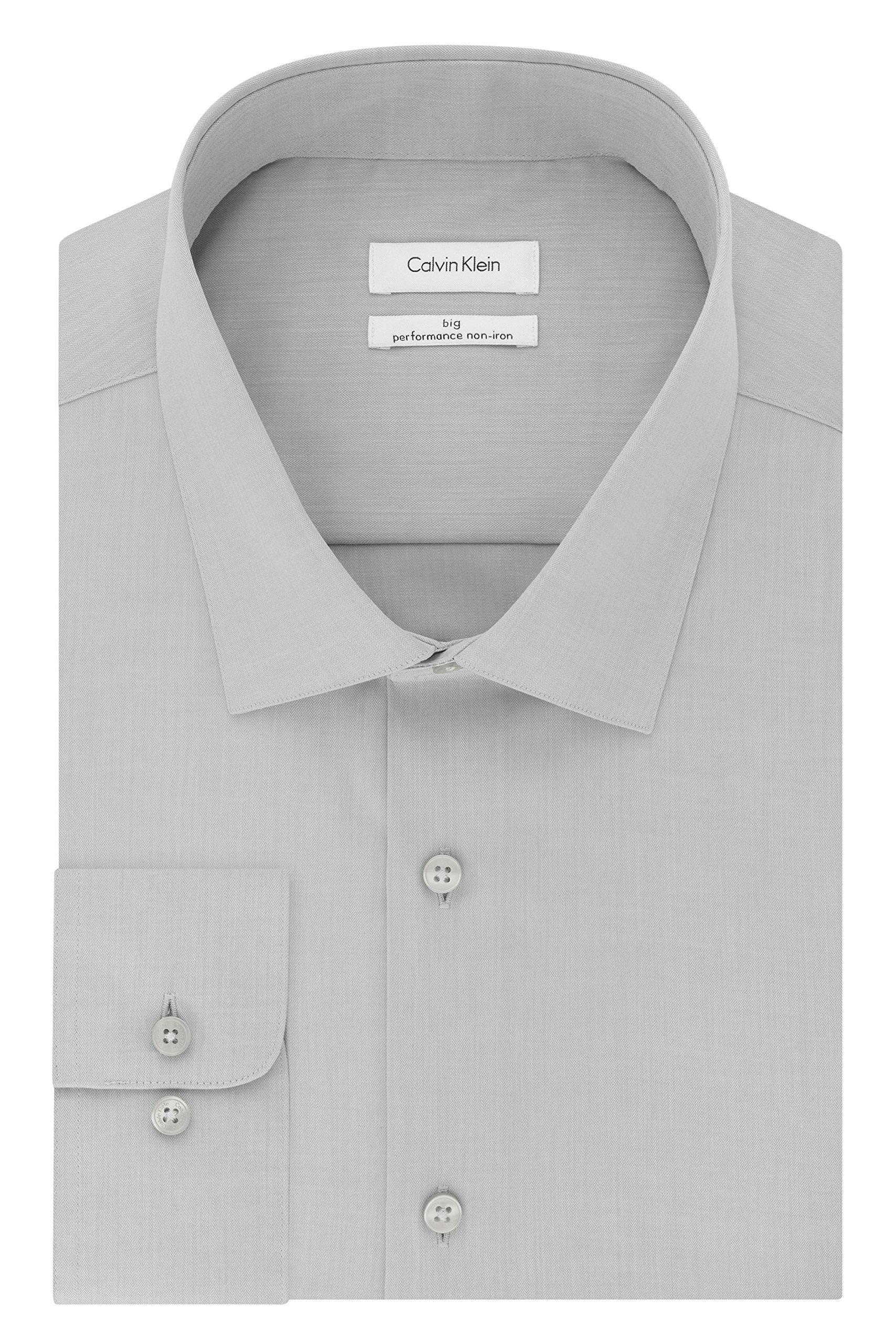 Calvin Klein Men's Big and Tall Non Iron Herringbone Spread Collar Dress Shirt, Smoke, 18'' Neck 34''-35'' Sleeve