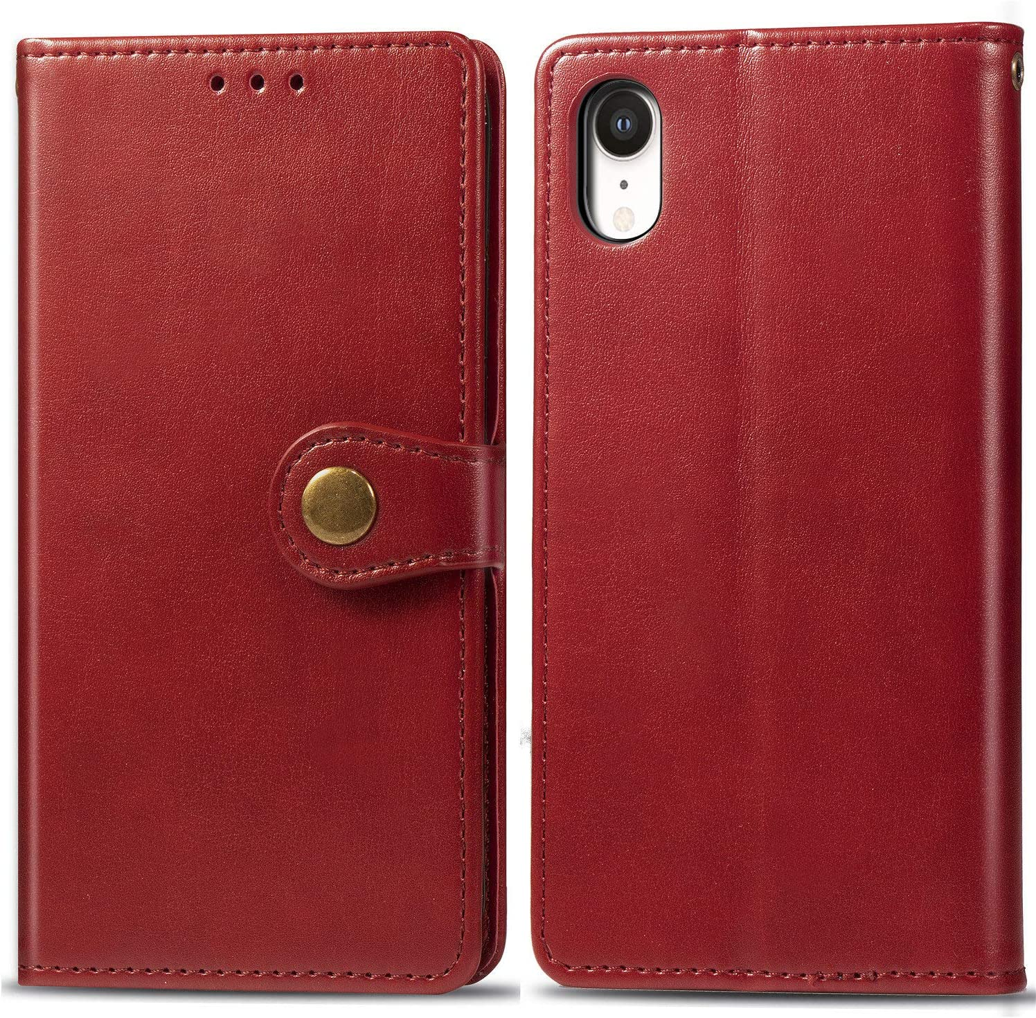 iPhone XR Wallet Case,Luxury Leather Phone Cases with Credit Card Holder Slot Stand Kickstand Rugged Flip Folio Protective Cover for Apple iPhoneXR iPhone10R i Phonexr 10XR iPhoneXRcases Red