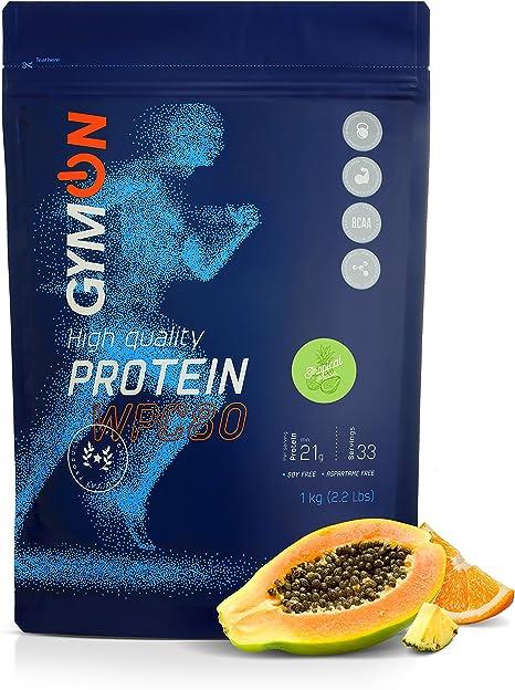 GYMON Whey Protein Shake. Concentrado de proteína de suero de leche, 33 porciones 1000g (Tropical)