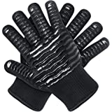 OUUO Oven Mitts Heat Resistant Gloves EN407 Standard withstand Heat up to 500 Degrees for Cooking Grilling (Large, Black)