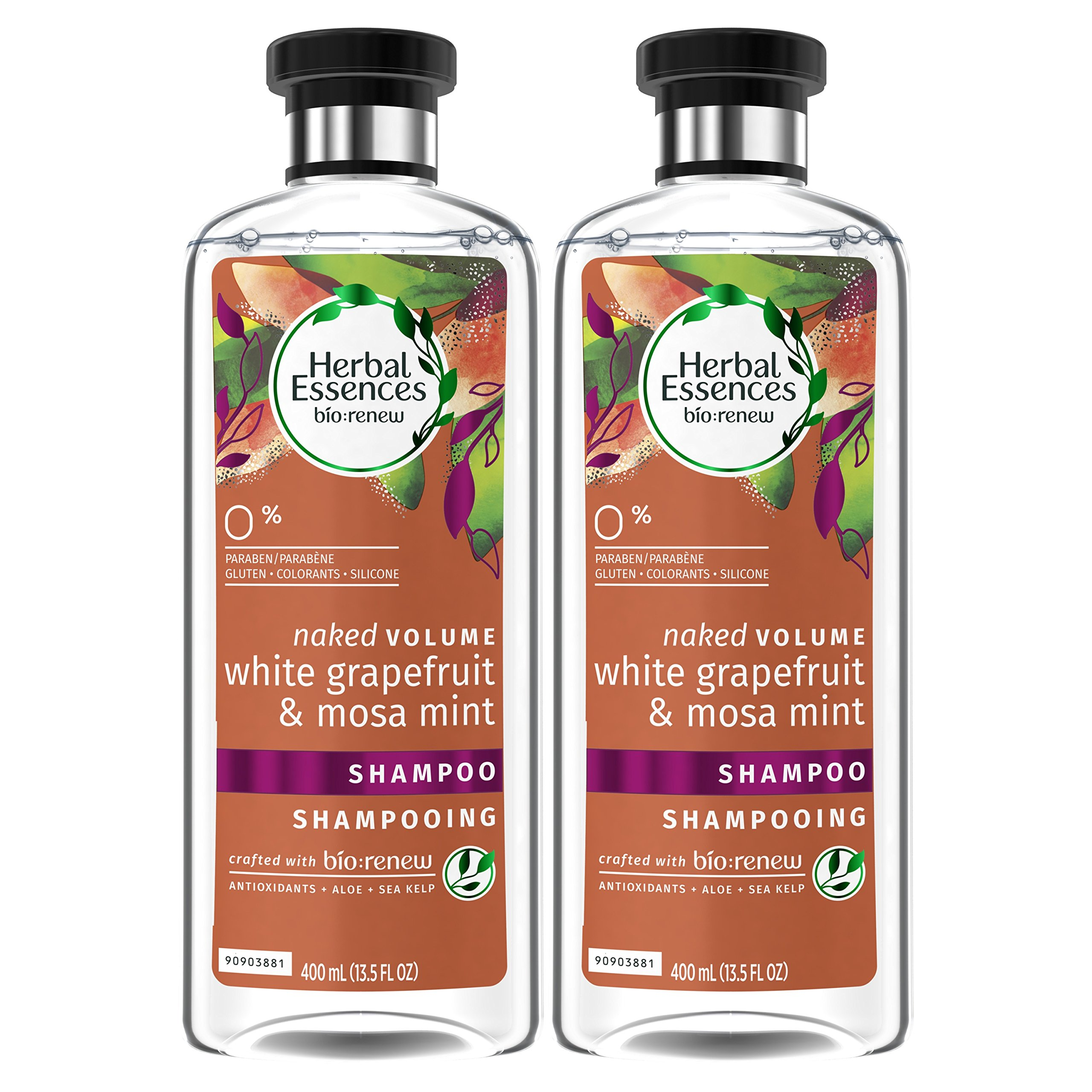 Herbal Essences Volume Shampoo, 13.5 Fluid Ounces (Pack of 2) - Biorenew White Grapefruit & Mosa Mint Naked, Paraben Free