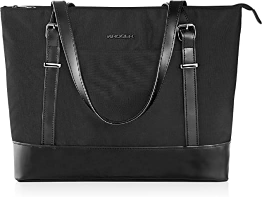 Relavel Laptop Tote Bag for Women Work Bag with Compartments Fits 15.6 Inch Laptop Business Computer Briefcase Shoulder Bag Nylon Waterproof Purses Office Handbags