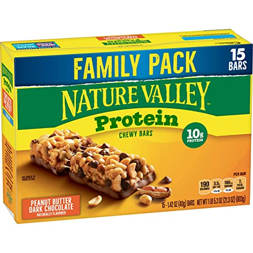 Nature Valley Protein Bar, Gluten Free, Granola Bar, Peanut Butter Dark Chocolate, 15 Count