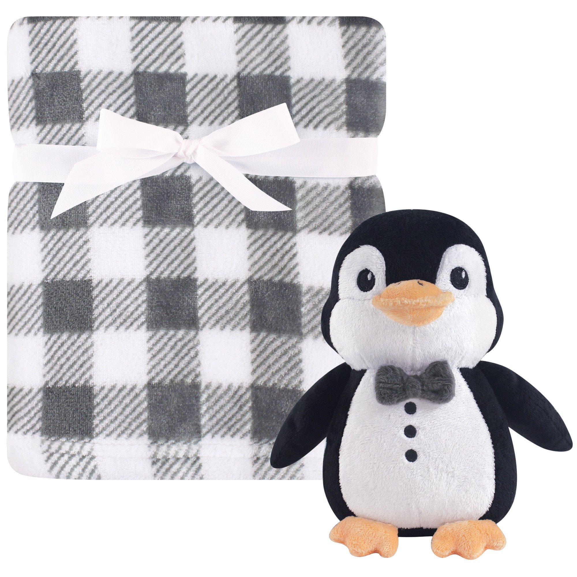 Hudson Baby Blanket with Plush Toy Set, Mr. Penguin, One Size