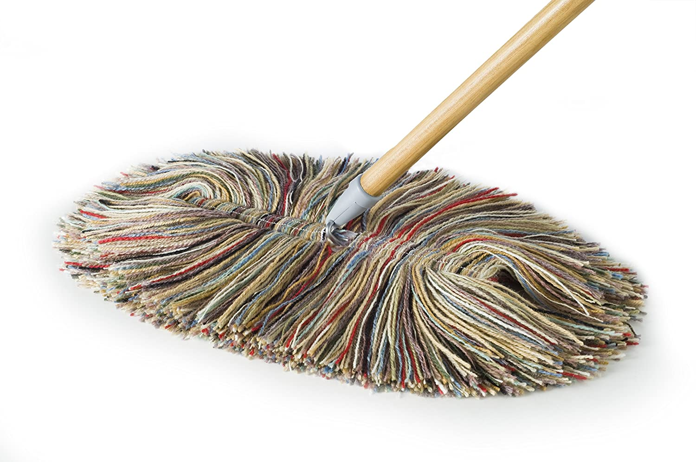 Sladust Wool Dry Mop - Big Wooly and Wooden Handle