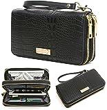 CrossLandy Women's Bifold Thin Multi Card Case Leather Rfid Wallet Zipper Credit Card Organizer