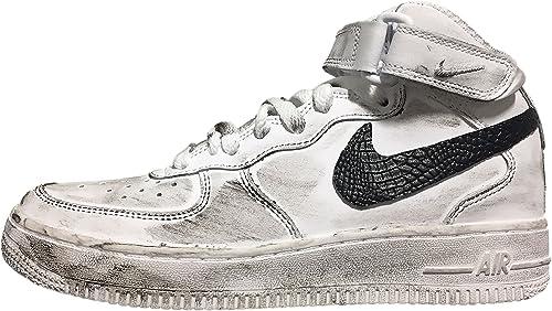 Nike Air Force Bianca Alta con Tessuto Coccodrillo Nero