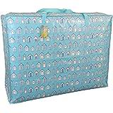 Super grand sac de rangement de 115 litres. Bleu Plage Cabanes motif. Toy sac, le lavage et le sac à linge