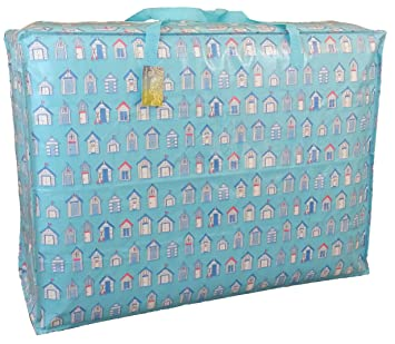 Extra Large Storage Bag 115 Litres. Blue Beach Huts Pattern. Toys, Washing  And