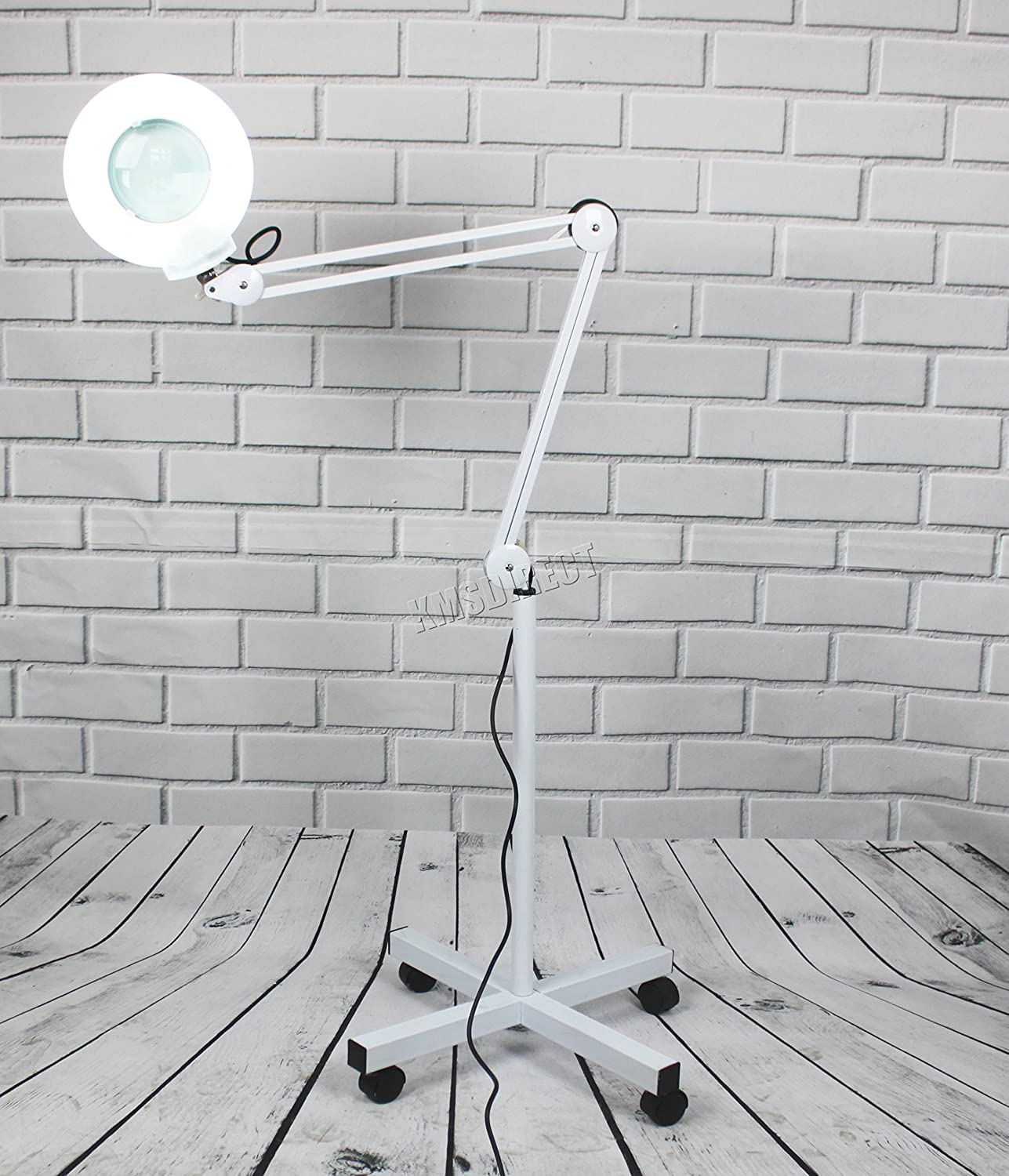 FoxHunter 5x Magnifier Vertical Clip Floor Stand Lamp Glass Adjustable Rolling Diopter Salon SPA Beauty Makeup Skincare Nail Tattoo Light Magnifying Tool White ML01 New KMS