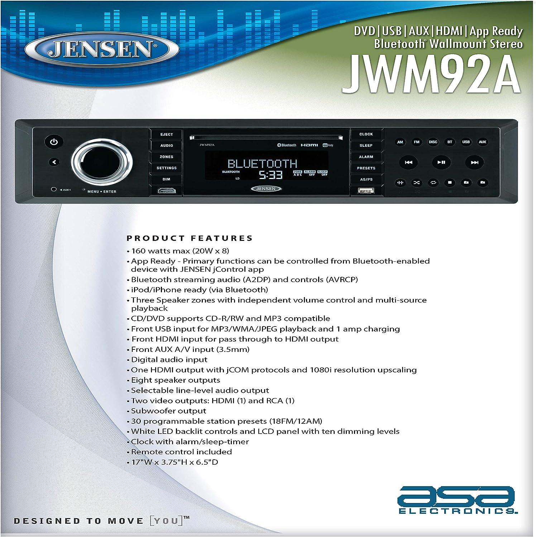 Plays Jensen JWM92A 3-Speaker Zones Slimline Theater-Style DVD USB AUX HDMI App Ready Bluetooth Wallmount Stereo CD//CD-R//CD-RW//DVD//DVD+R//DVD+RW//DVD-R//DVD-RW//MP3//WMA//JPEG Speaker Output 20X 8 Watt