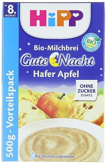 Hipp La leche orgánica gachas de avena buenas noches papilla de manzana, 3-pack (3 x 500 g): Amazon.es: Alimentación y bebidas