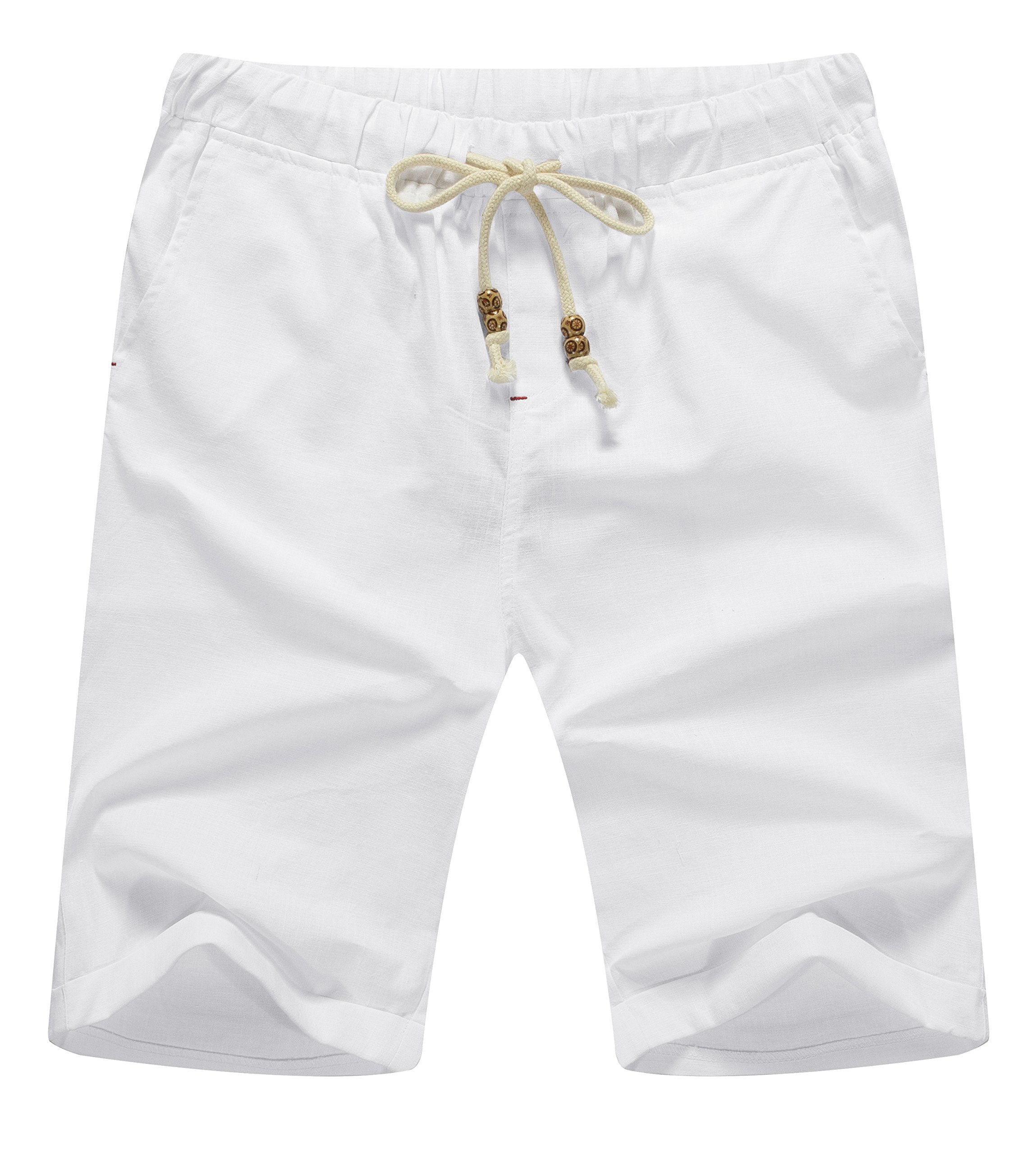ZYFMAILY Men's Linen Casual Classic Fit Short Drawstring Summer Beach Shorts (M, White)