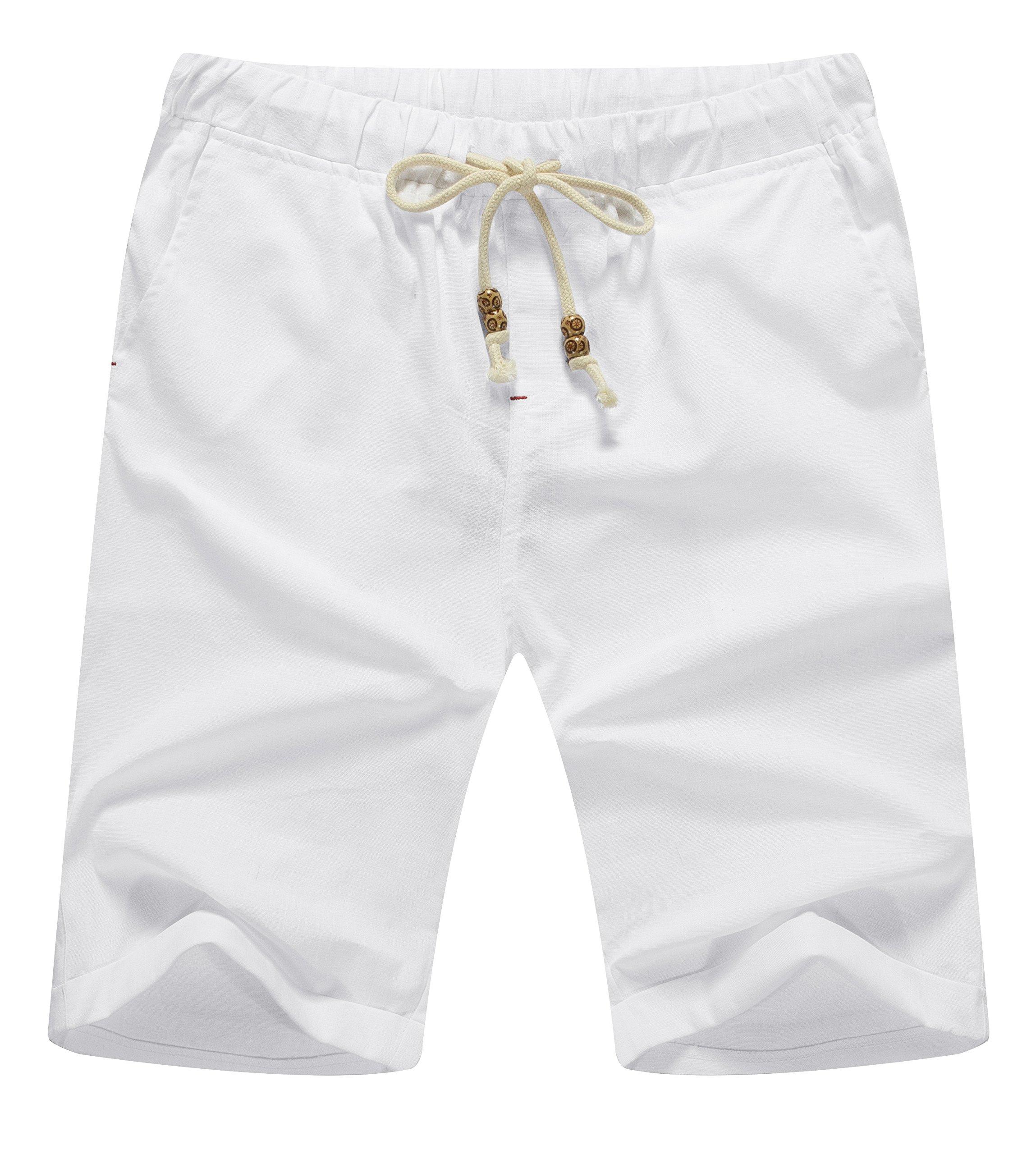 NITAGUT Men's Linen Casual Classic Fit Short White L
