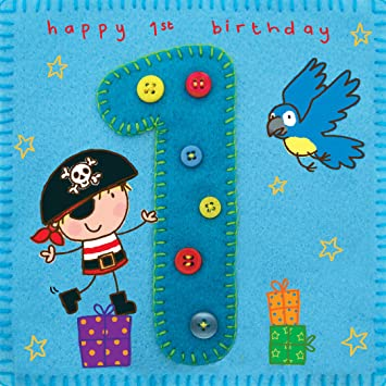 Twizler 1st Birthday Card For Boy With Pirate And Parrot