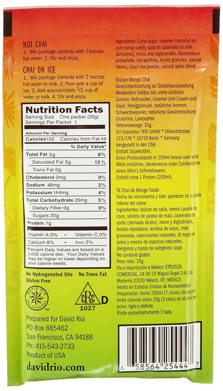 Amazon.com : David Rio Decaf Sugar Free Chai Tea Single Serve Packets, Flamingo Vanilla, 12 Count (Pack of 4) : Grocery & Gourmet Food