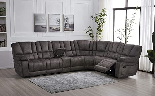 Betsy Furniture Large Microfiber Reclining Sectional Living Room Sofa