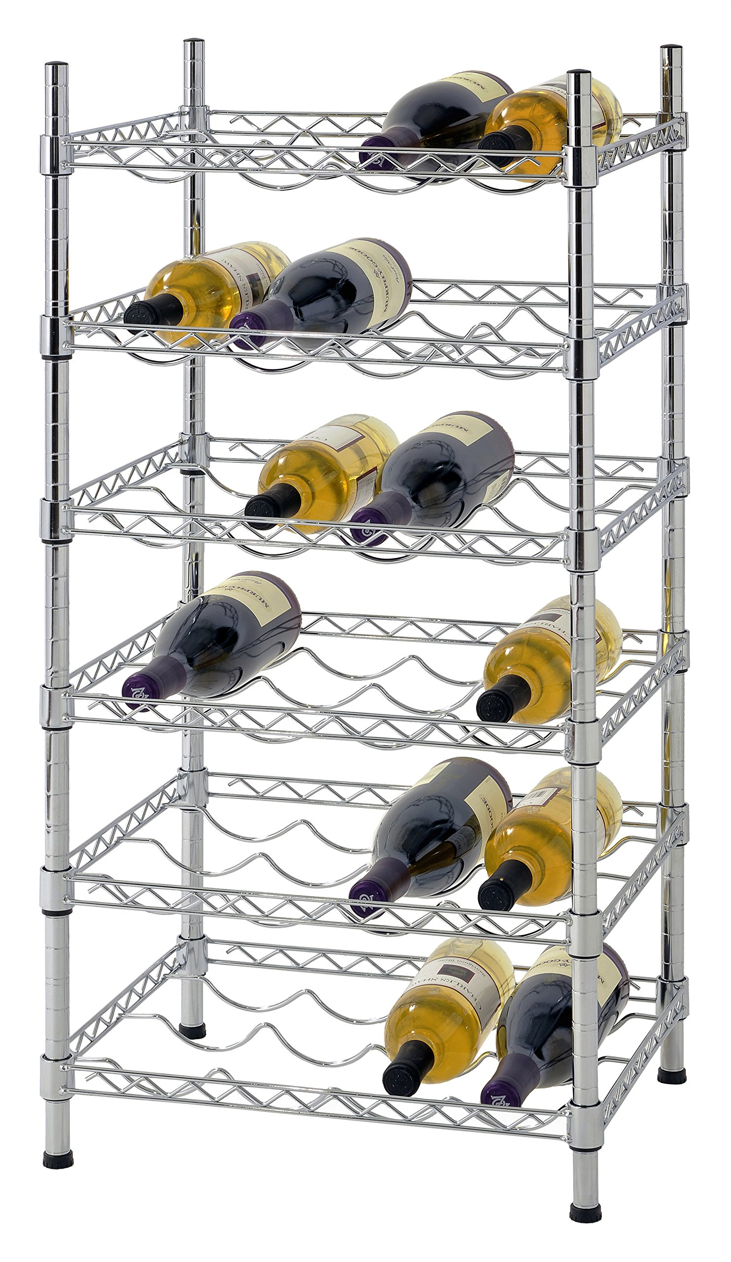 Muscle Rack WBS181435 24-Bottle Chrome Wine Rack, 18'' by 14'' by 35'', 35'' Height, 18'' Width, 660 lb. Load Capacity