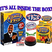 Endless Games Family Feud 6th Edition Set Bundle Includes Strikeout Card Game, Electronic Red 3-Mode Game Answer Buzzer…
