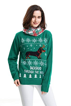 a38e2796b4ae90 Shineflow Women's Dachshund Through The Snow Ugly Christmas Sweater  Pullover Jumper (Small)
