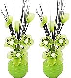 Flourish 813 Mini Articial - Vaso da fiori, colore: verde, 32 cm, 1 paio, Vetro, Verde, 10x10x32 cm