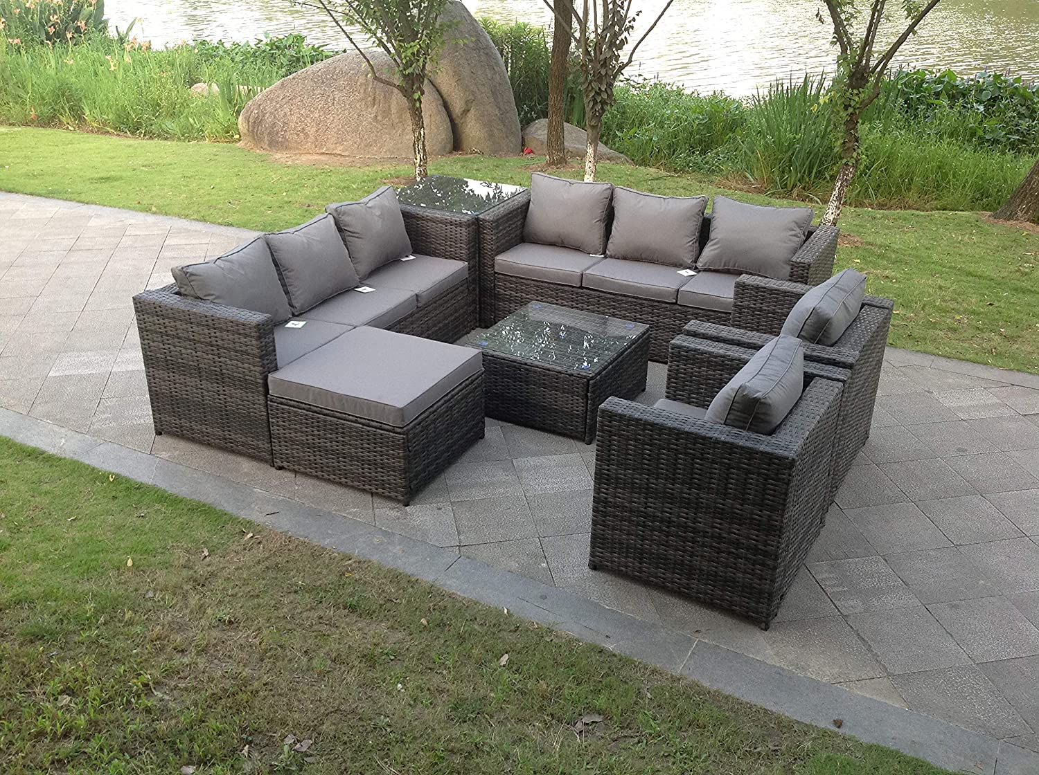 Fimous 9 Seater Grey Rattan Corner Sofa Set Dining Table Foot Rest Garden Furniture Outdoor Amazon Co Uk Kitchen Home