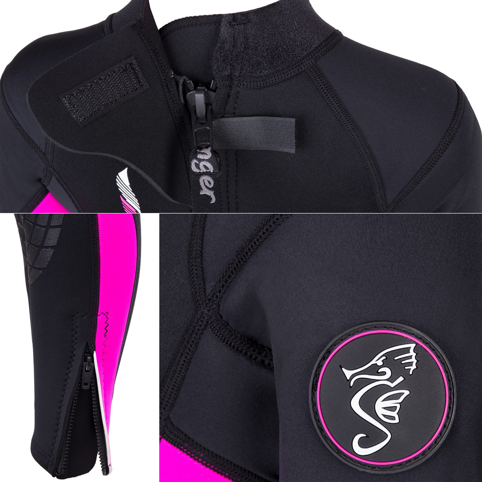 Seavenger Scout 3mm Kids Wetsuit | Full Body Neoprene Suit for Snorkeling, Swimming, Diving (Coral Pink, 6) by Seavenger (Image #4)