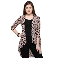 Serein Women's Georgette Printed Long Shrug/Long Jacket with 3/4th Sleeves