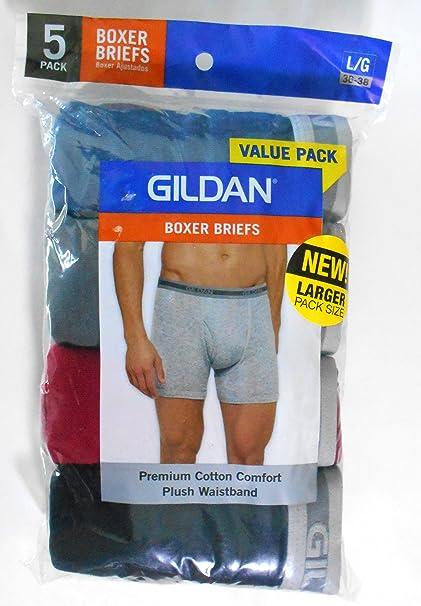 GILDAN 5 PACK Boxer Briefs Men/'s Plush Waistband Underwear Premium Cotton New