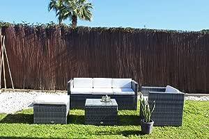 Kiefer Garden Conjunto de Muebles de Exterior para Jardín o Terraza | Incluye 1 Sofá de 3 Plazas + 1 Sillón + 1 Mesa + 1 Taburete Otomano | Color Gris | Acero Inoxidable y Ratán Sintético: Amazon.es: Jardín