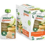 Sprout Organic Baby Food Pouches Stage 3, Market Vegetables Pears w/ Turkey, 4 Ounce Pouches (Pack of 12)