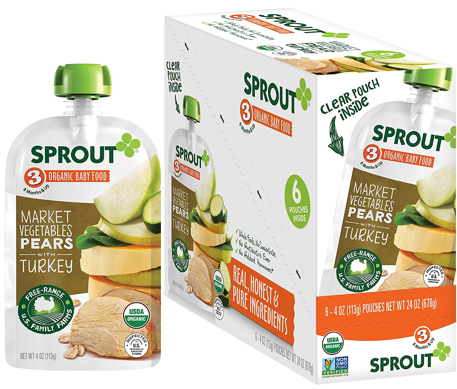 Sprout Organic Stage 3 Baby Food Pouches, Market Vegetables Pears w/ Turkey, 4 Ounce (Pack of 12)